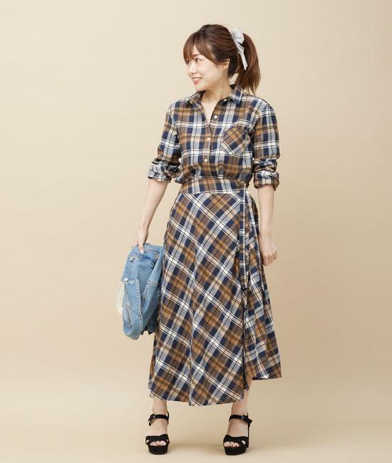 ネルチェックシャツ&スカートのセットアップコーデ