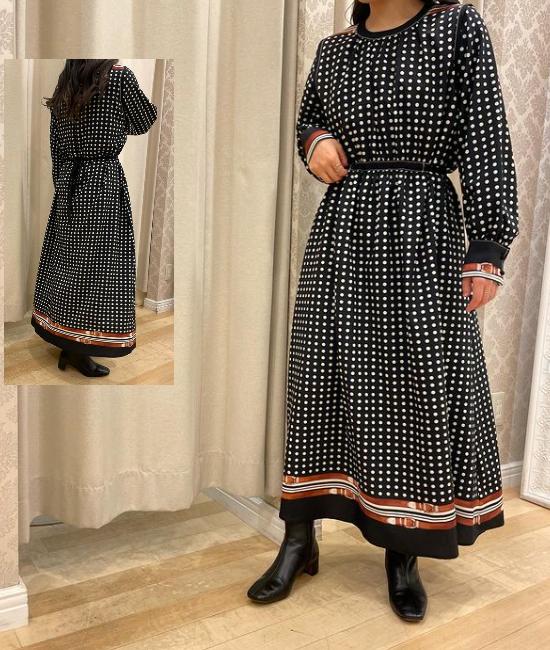 ドット&ベルトプリント トリミングドレス