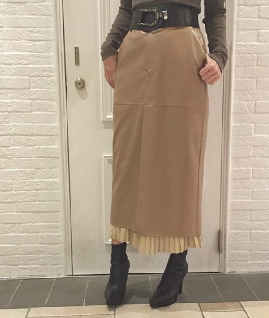 フロントスリット プリーツレイヤードタイトスカート