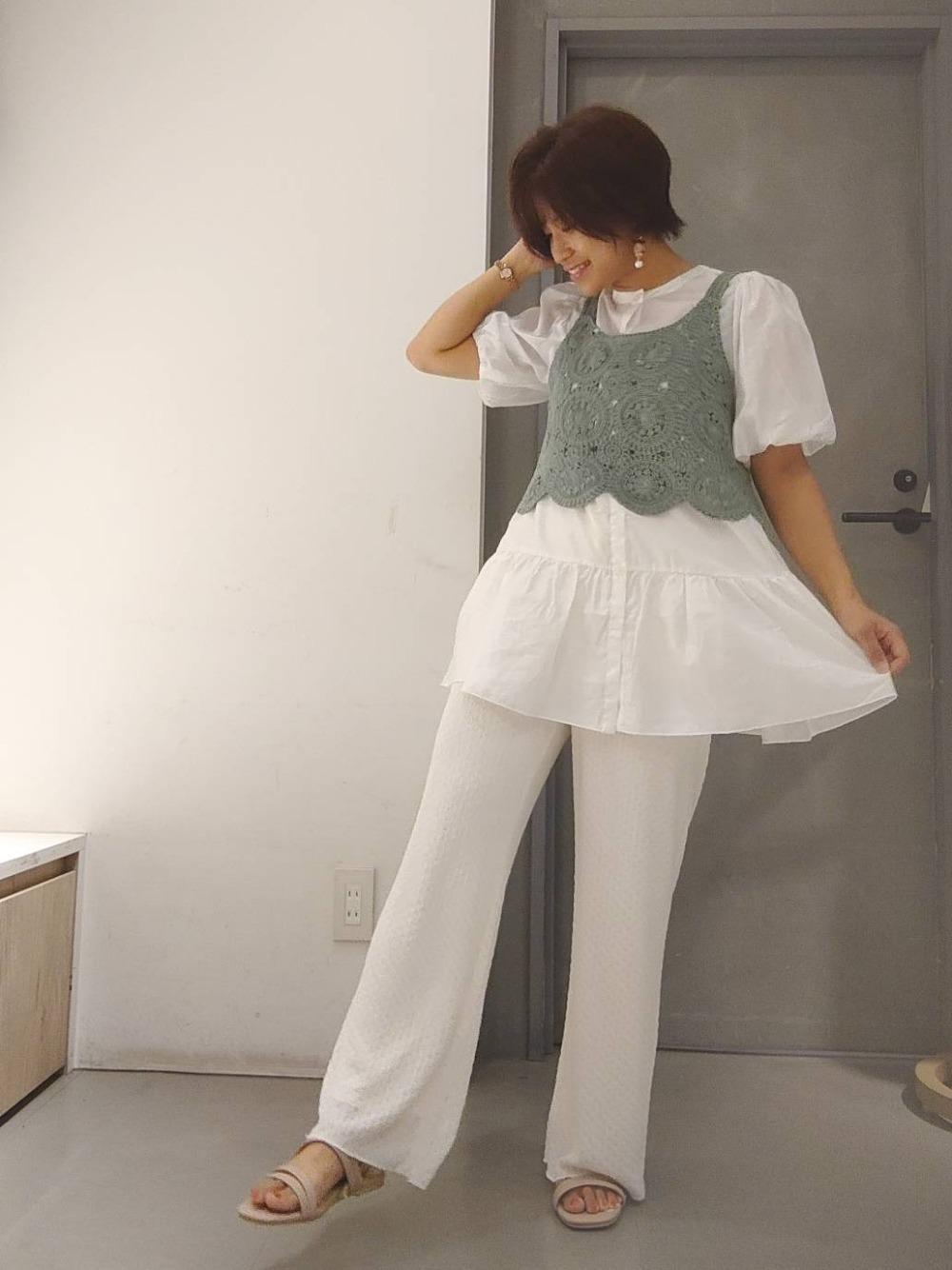 White × Green さわやか夏コーデ