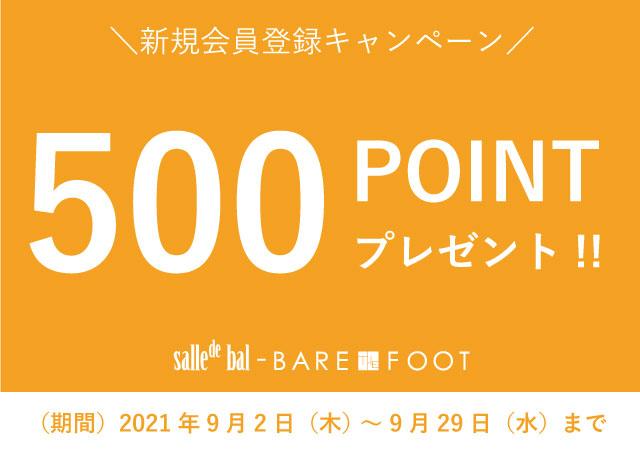 新規会員登録キャンペーン♪500ポイントプレゼント実施中!