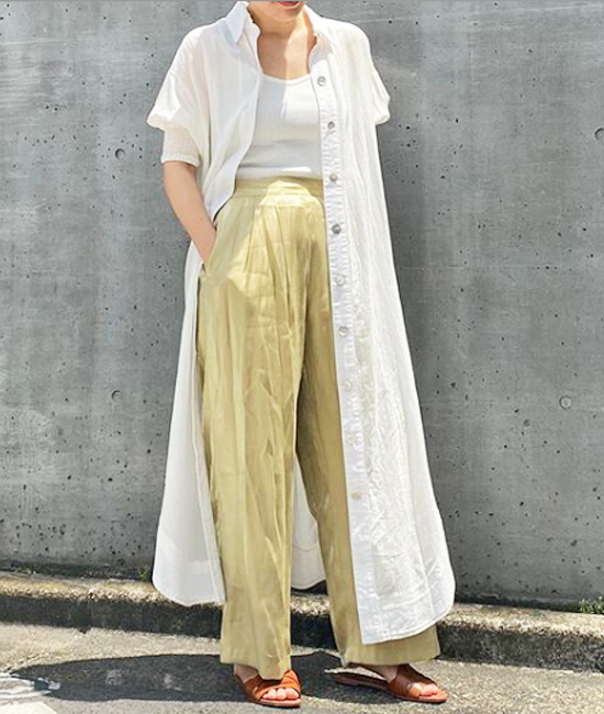 【Emma Taylor】シェルボタンシャツドレス &【CIENA】シャイニーワイドパンツ