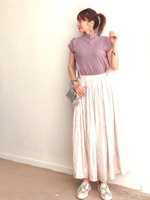 【CIENA】シャイニープリーツスカート