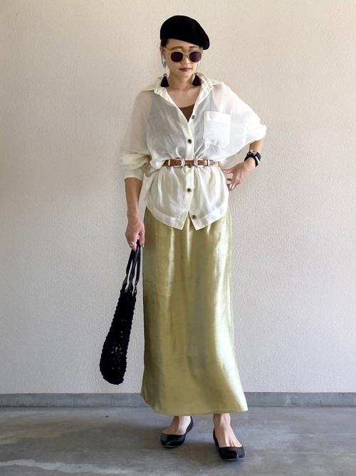 【CIENA】キュプラ調マキシスカート