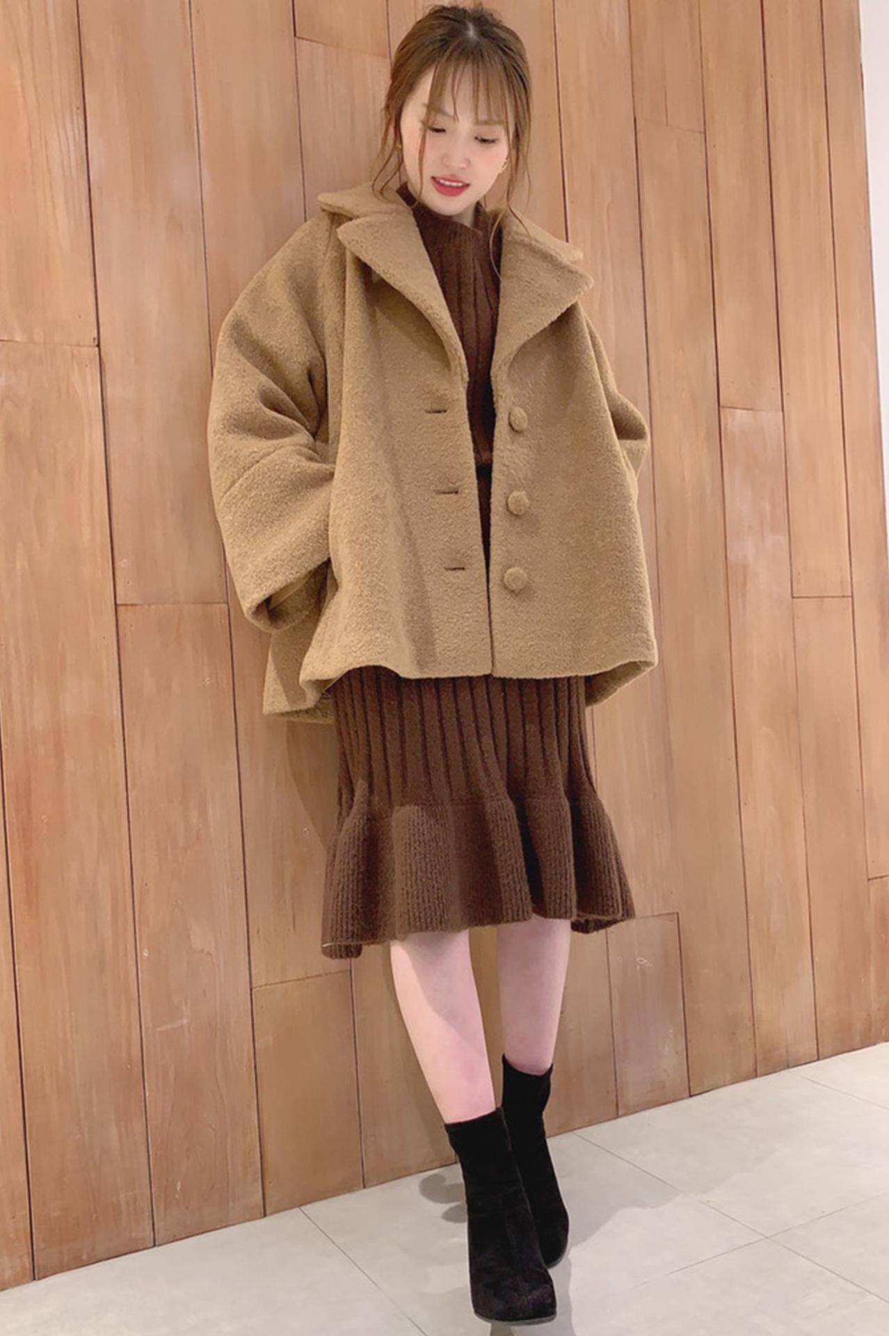 ふんわりコートのブラウンコーデ♡