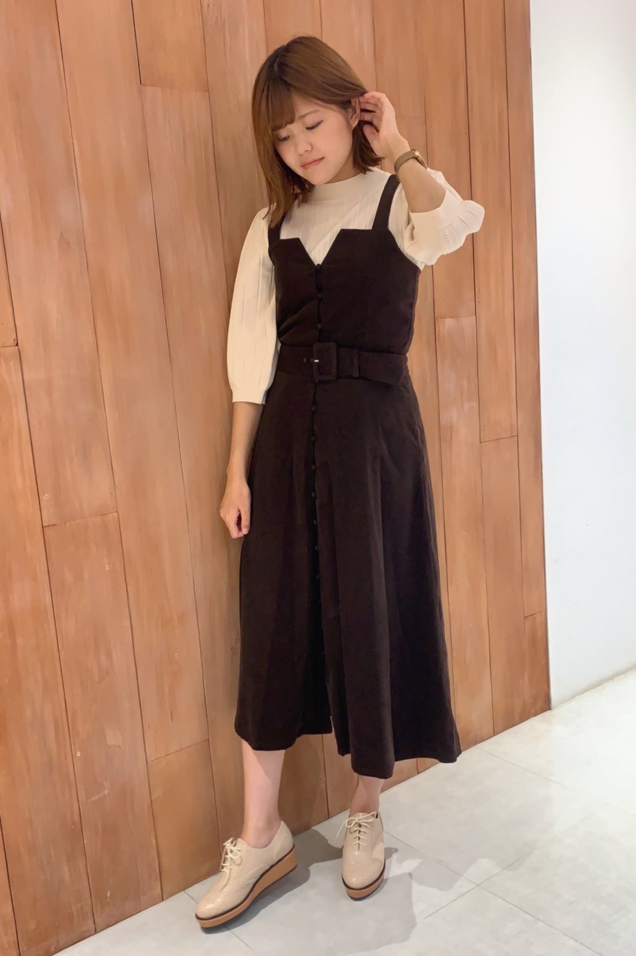 暖かみ漂うコーデュロイのジャンパースカート♡
