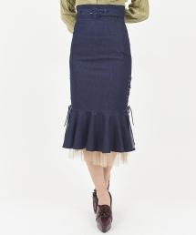 サイドスピンドルマーメイドスカート/マーメイドスカートブルー